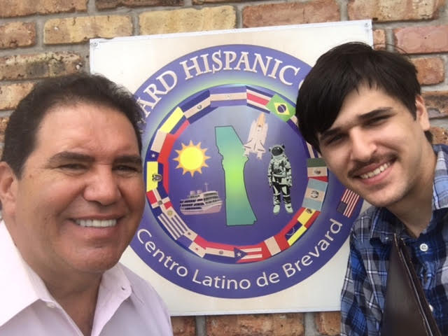 Eduardo Vazquez with students Alex who he job placed at the Hispanic Historical society.