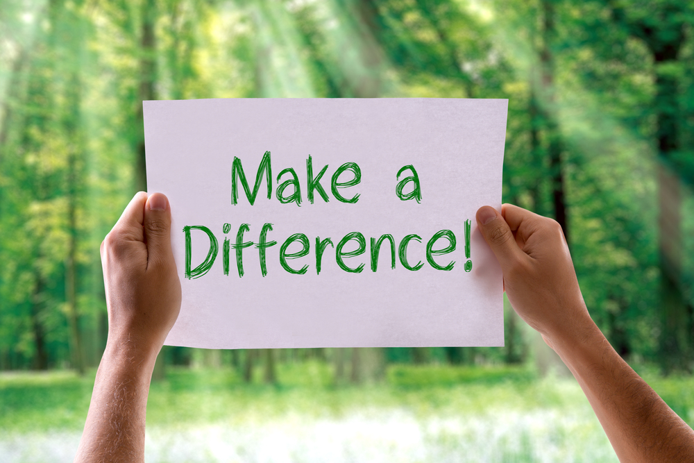 Make a Difference card with nature background